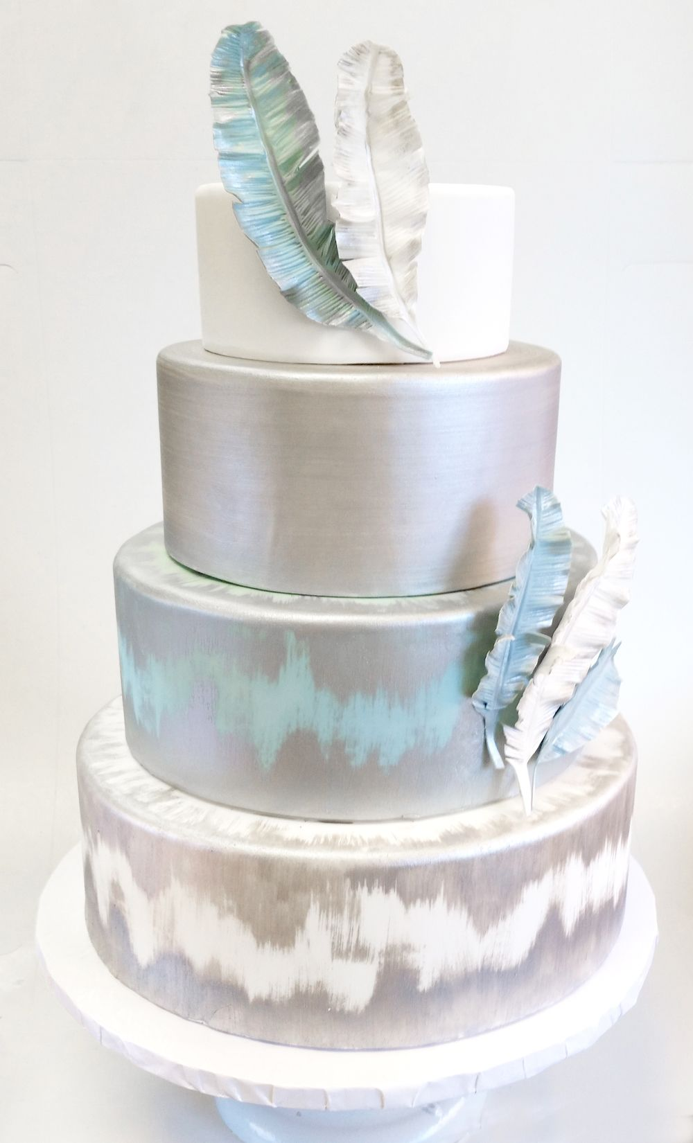Silver and slate blue wedding cake with gum paste feathers (4 tier ...