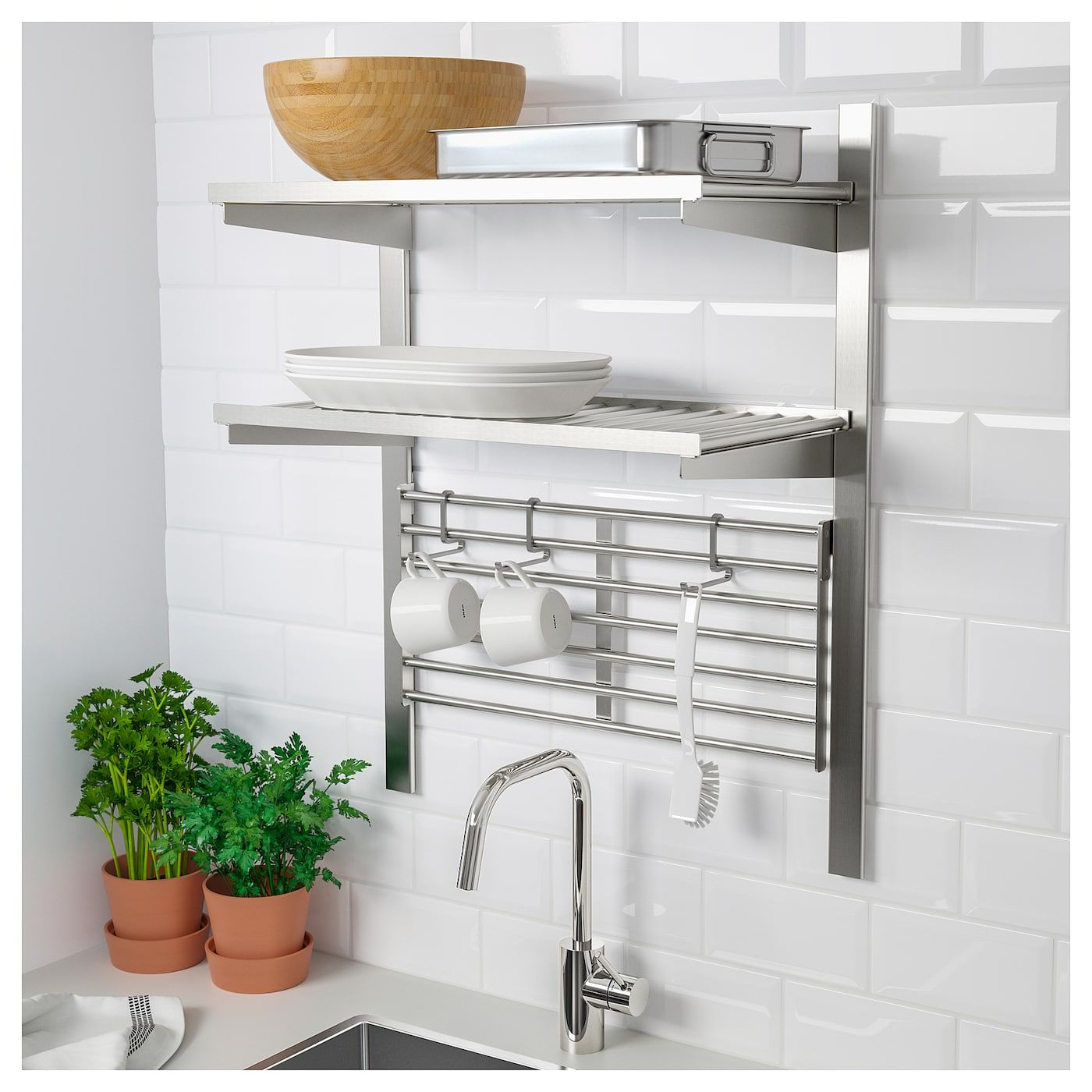 Wandaufbewahrung Küche Edelstahl Kungsfors Suspension Rail With Shelf/wll Grid - Stainless