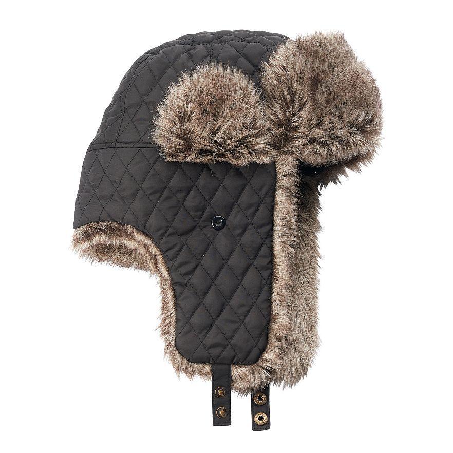 Mens Urban Pipeline Trapper Hat Black Polyester Faux Fur NWT One Size fits  Most  UrbanPipiline  AviatorTrapper c4afac957a70