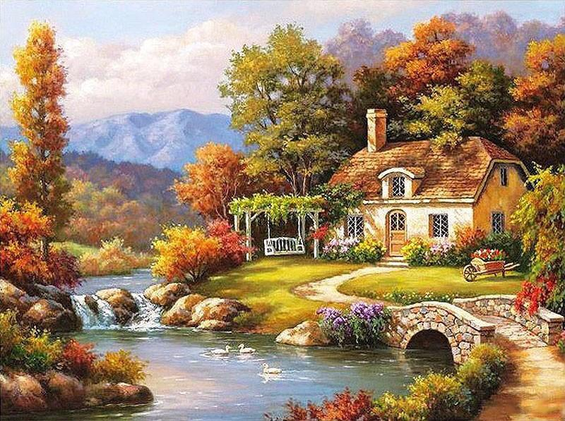 Bucolic 1620 inch. Colour Talk Diy oil painting paint by number kit