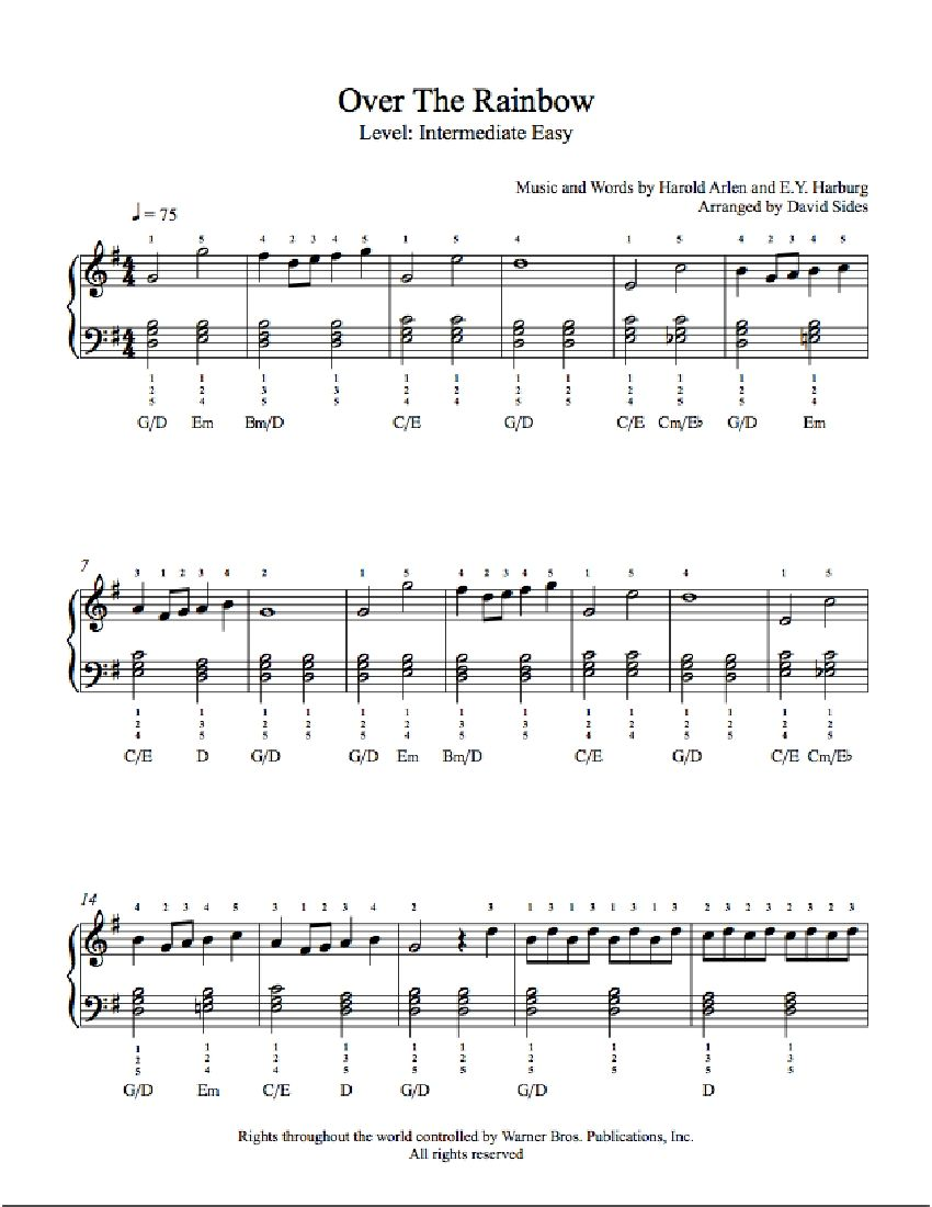 Over the rainbow by judy garland piano sheet music intermediate over the rainbow by judy garland piano sheet music intermediate level hexwebz Gallery