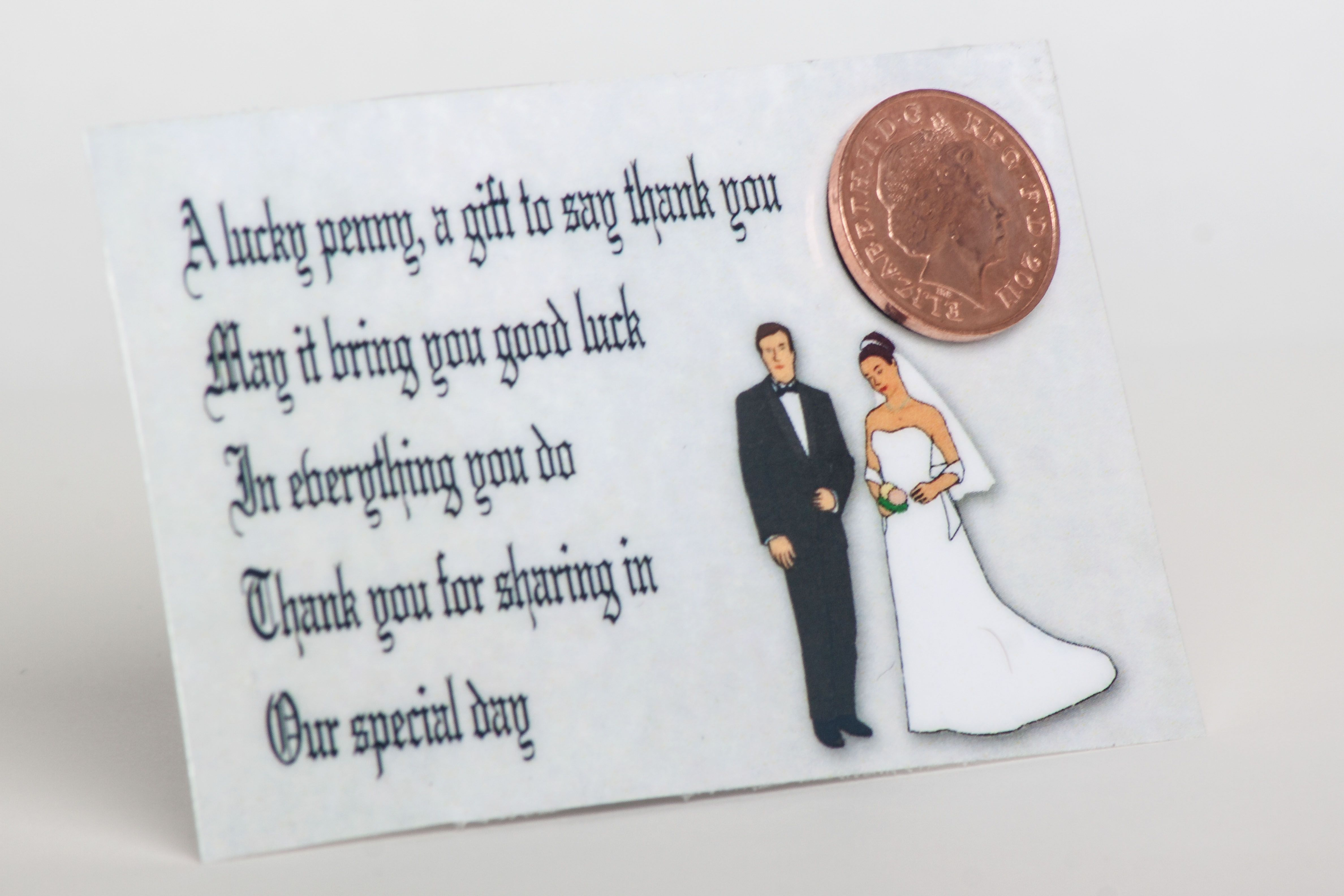 Wedding Guest Lucky Penny Bride and Groom. A delightful little gift ...