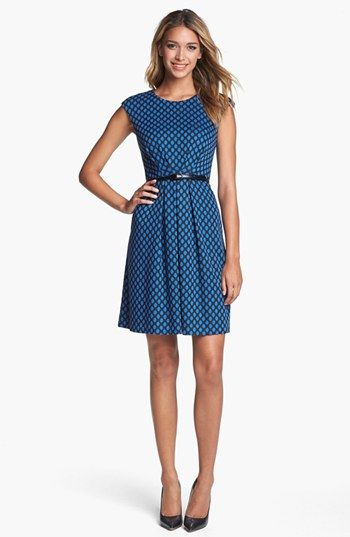Maggy London Jacquard Ponte Fit & Flare Dress: Black/Blue. | style ...