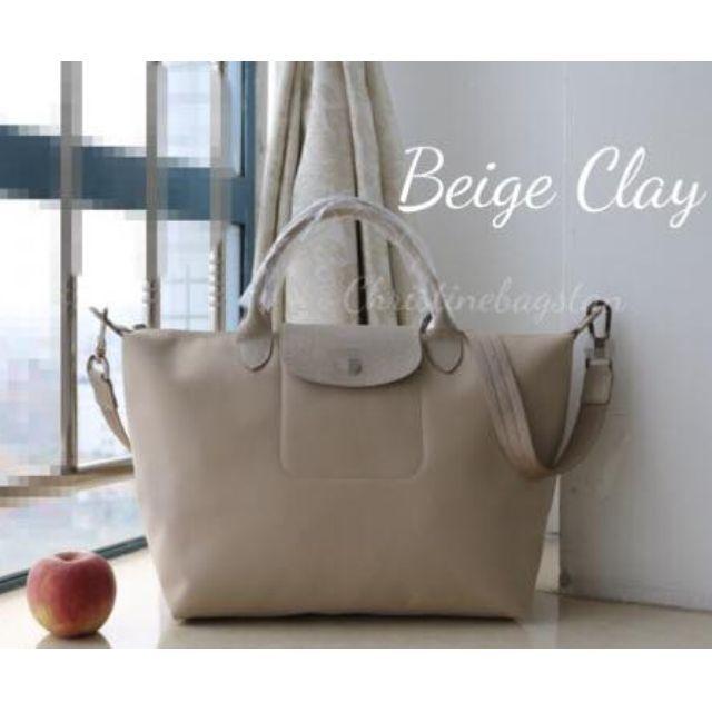Authentic Longchamp Neo Tote Crossbody Bag Medium Short Handle Beige Clay