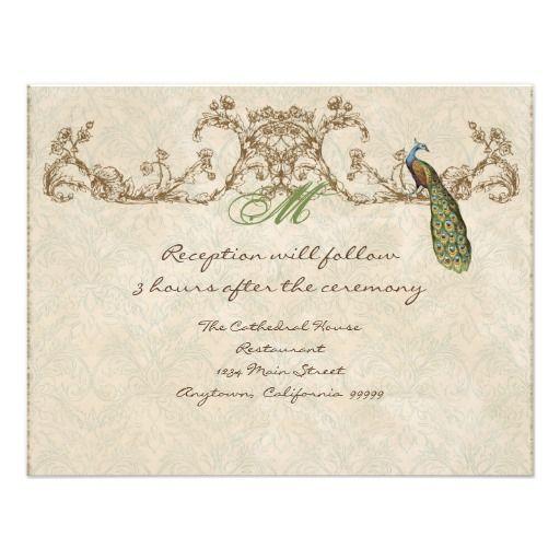 Vintage Peacock & Etchings Reception Invitation