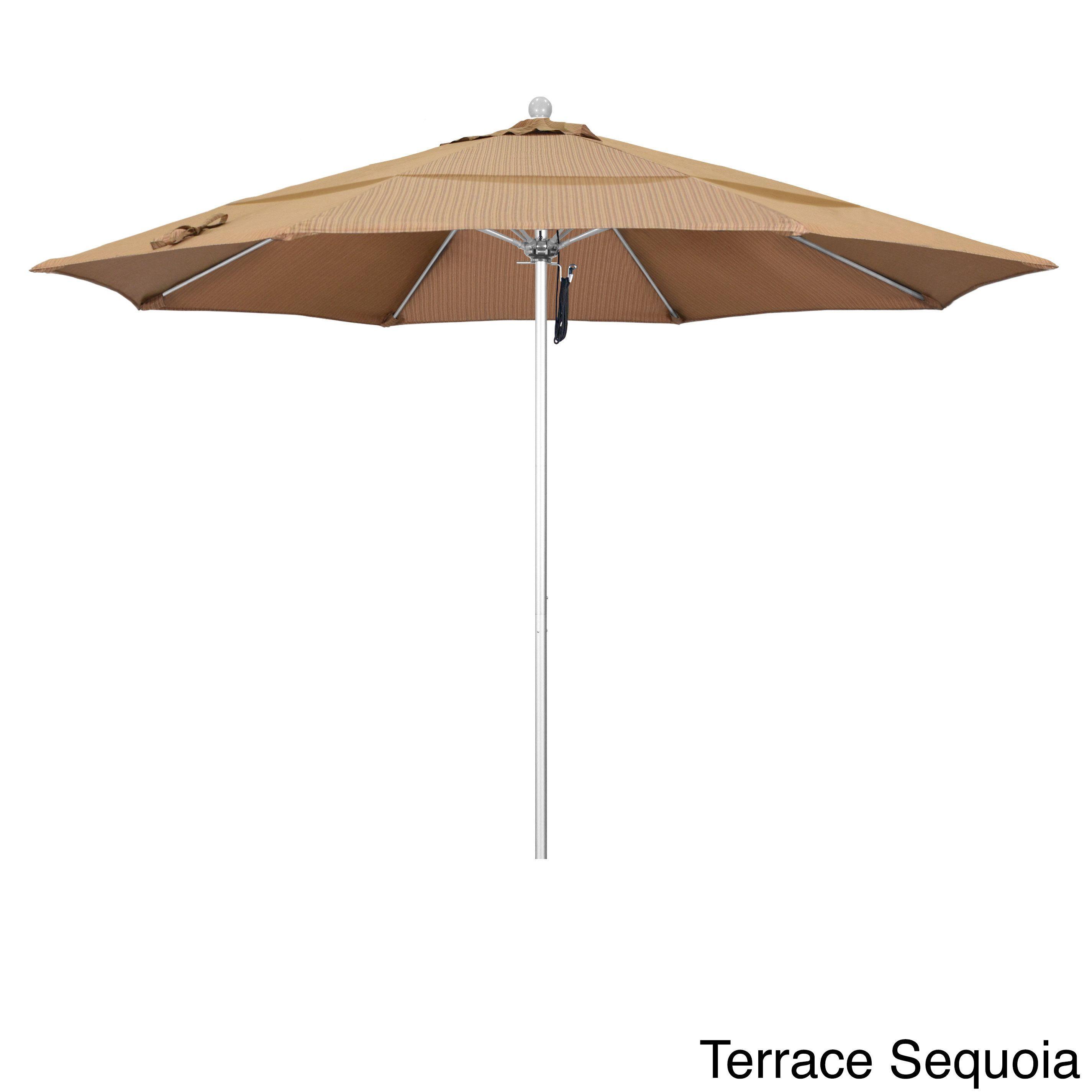 California Umbrella 11' Rd Frame, Fiberglass Rib Market Umbrella, Push Open, Anodized Silver Finish, Olefin Fabric