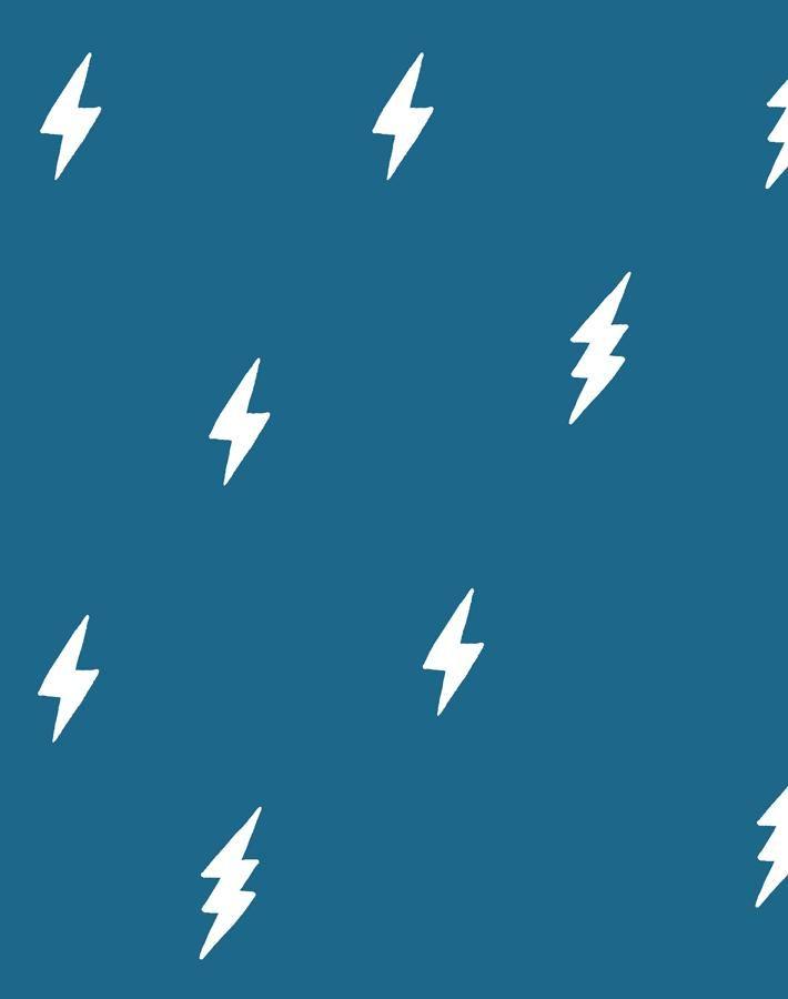 'Zeus Lightning' Wallpaper by Tea Collection - Cadet Blue - Removable Panel - Sample