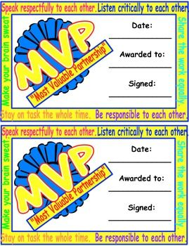 Mvp award certificate freebie encourage students to be mvp award certificate reward students for working well in pairs with this free yadclub Images