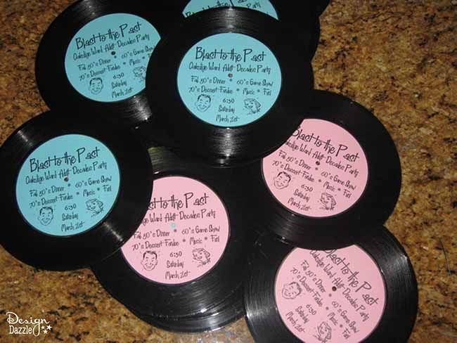 make these simple record invitations for your next sock hop tutorial on design dazzle