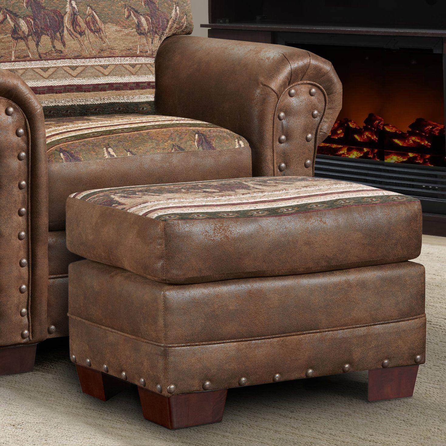 American Furniture Classics Wild Horses Ottoman (With