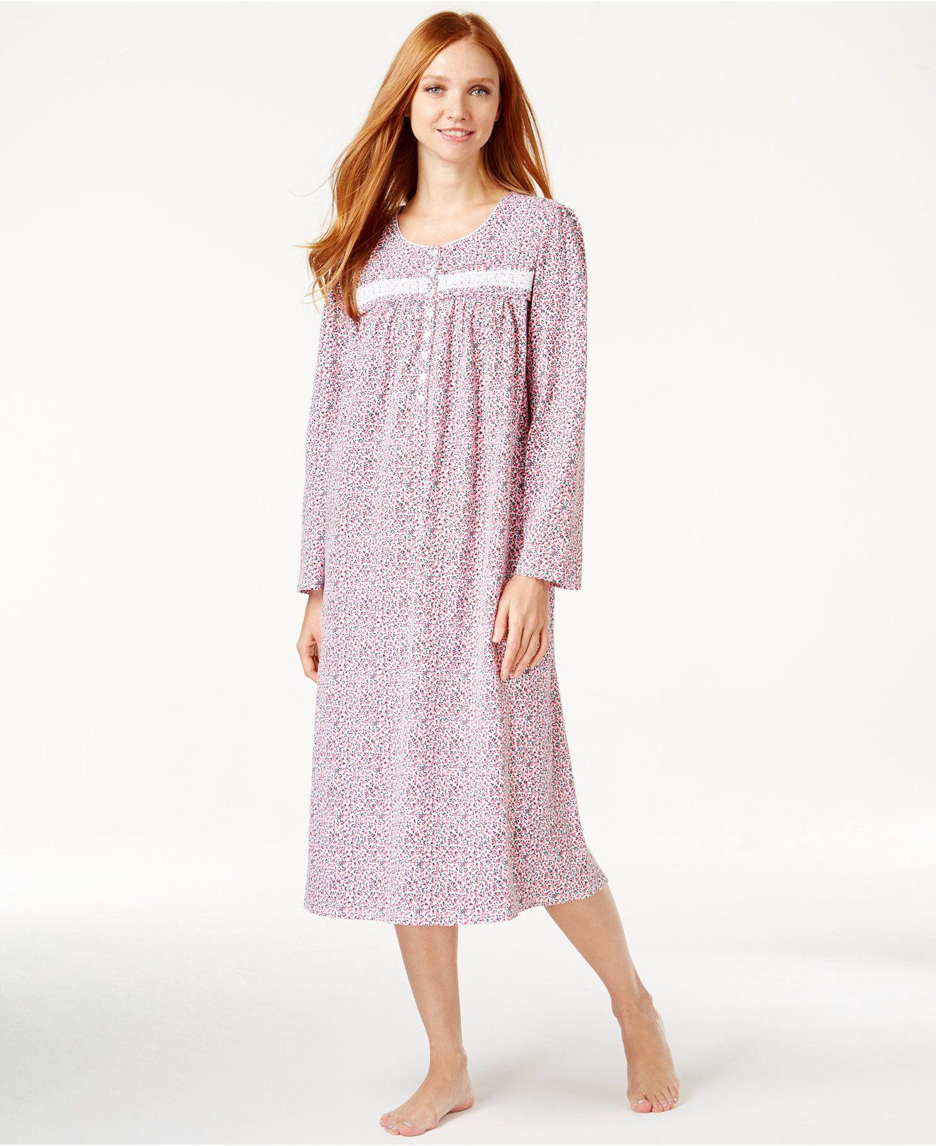 Eileen West Long Lace-Trim Nightgown - Bras, Panties & Shapewear ...