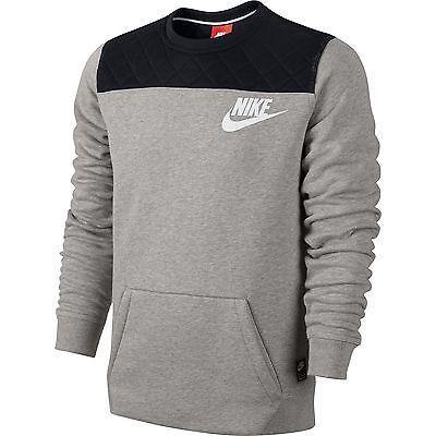 Nike FB Fleece Crewneck LS SWEATSHIRT Grey/Black tech 617778 ...
