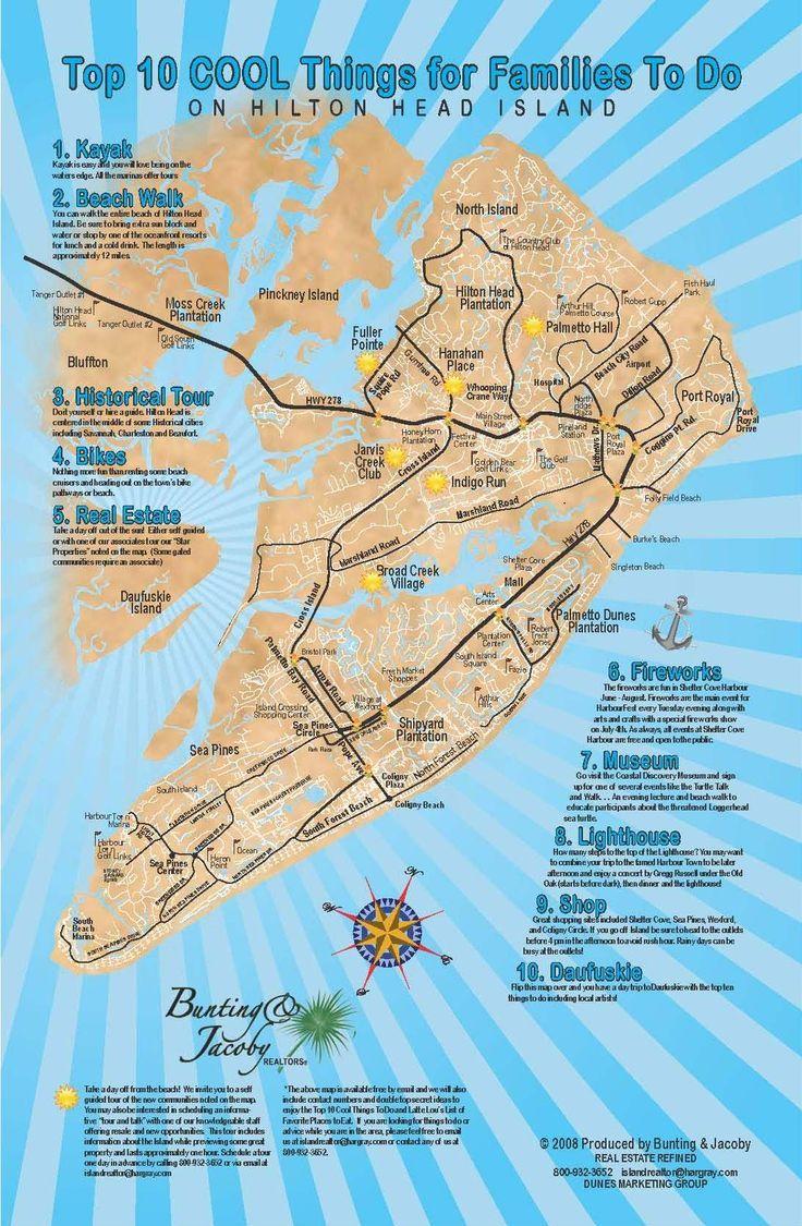 Hilton Head Island South Carolina Map.Map Of Things To Do In Hilton Head Island South Carolina South