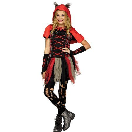 Fun World Edgy Red Hood Child Halloween Costume, Girl\u0027s, Size Large - halloween costume girl ideas