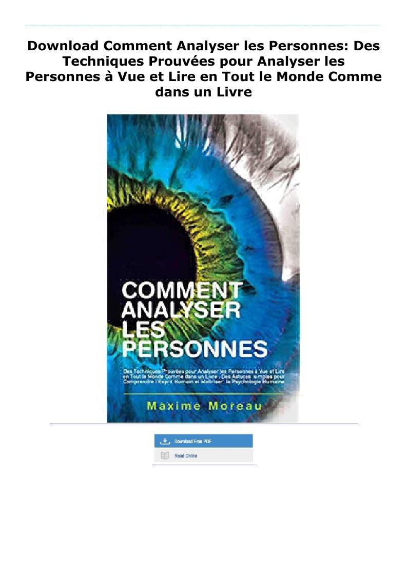 Download Comment Analyser Les Personnes Des Techniques Prouvees