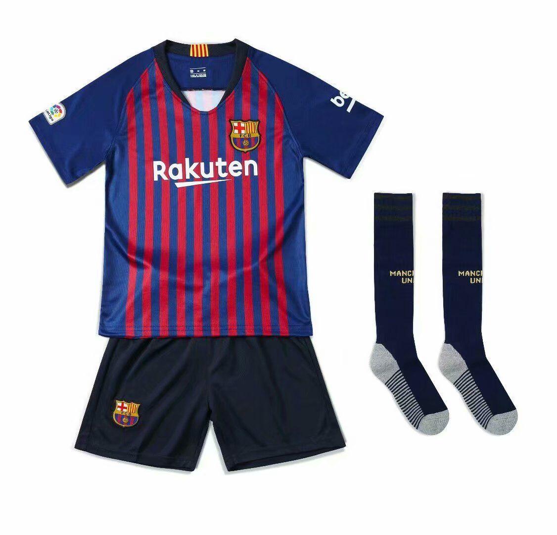 2018 19 Kids Barcelona Home Without Brand Logo Soccer Kits Children Football Uniform Football Uniforms Soccer Kits Soccer Uniforms