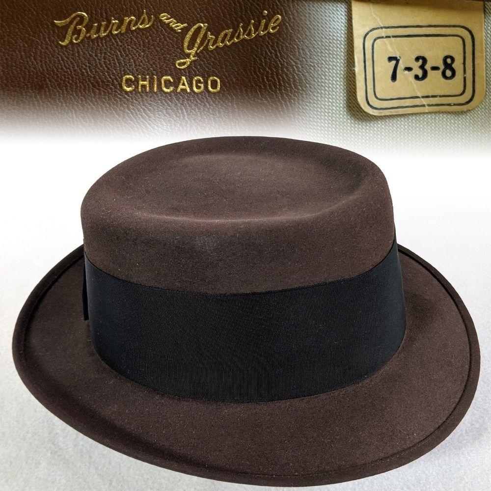 3066262fa118c Vintage 7-3 8 1950s Flat Top Back Bow Porkpie Burns Men s Fur Felt ...