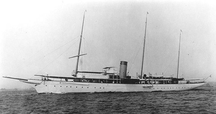 """Kanawha was a 200 foot long steam-powered luxury yacht initially built in 1899 for millionaire industrialist & financier Henry Huttleston Rogers (1840–1909). One of the key men in the Standard Oil Trust, Rogers was one of the last of the robber barons of the Gilded Age. He was also a """"secret"""" philanthropist. Rogers was a major developer of coal & railroad properties in West Virginia along the Kanawha River. Aboard the Kanawha, he frequently hosted his friends, including humorist Mark Twain"""