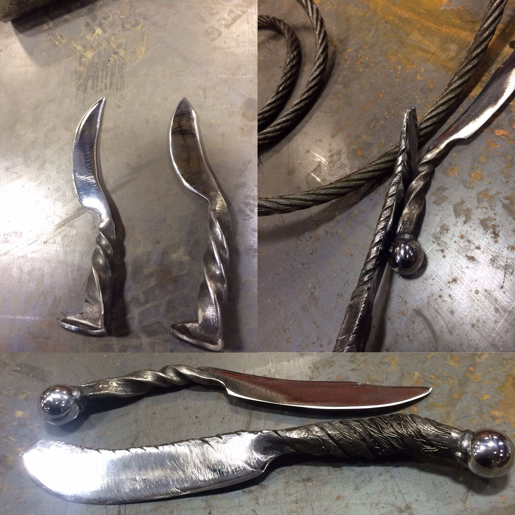 Cable Damascus and rail spike knives | Blacksmithing | Pinterest ...