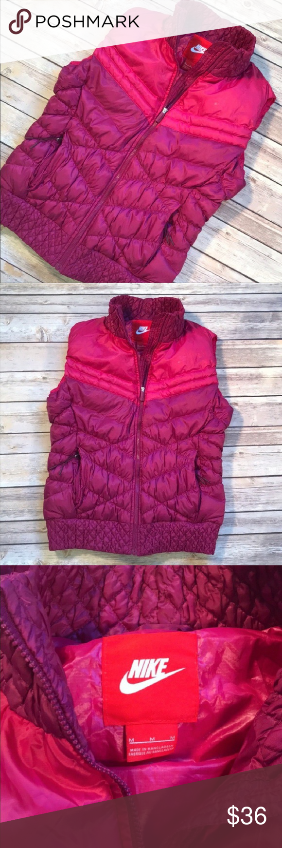 c3e56cc86de9 Nike Raspberry Fuchsia Down Puffer Vest Nike down puffer vest in raspberry  and fuchsia. Zippered pockets and zippered front. Down fill.