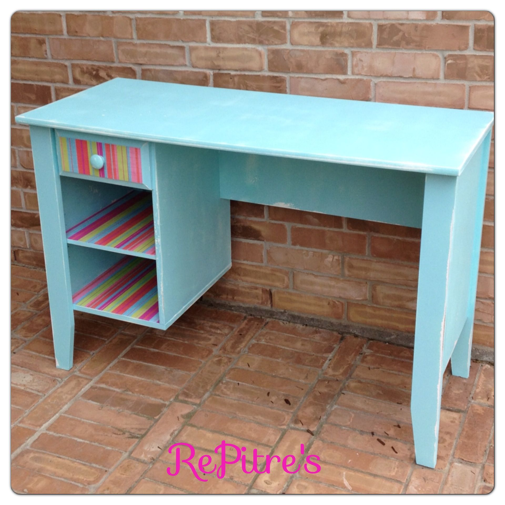 Little girls desk painted robin egg blue with distressing and