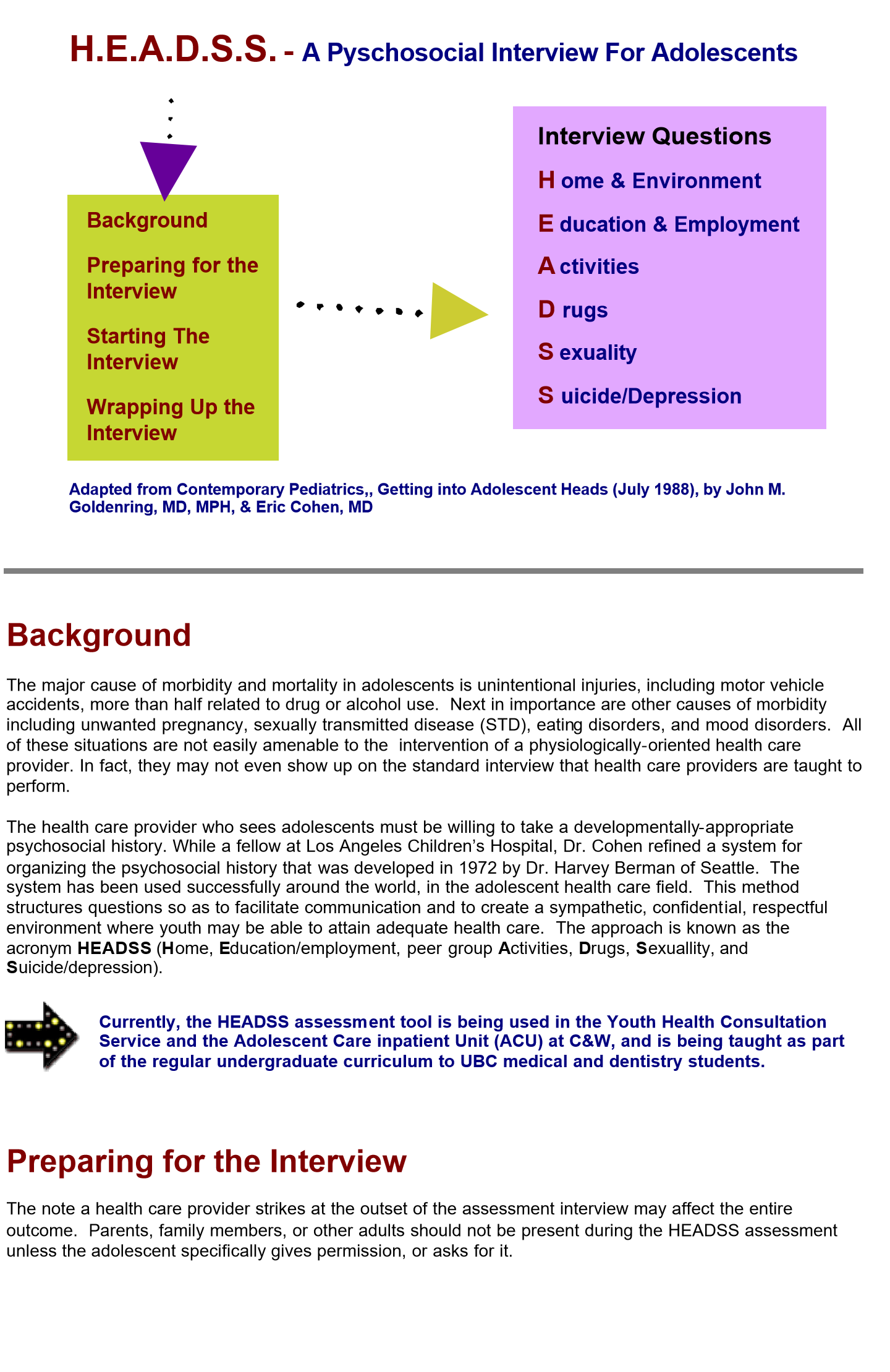 Headss Assessment Tool For Young People