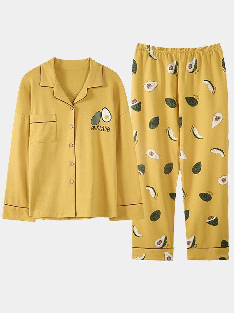 Plus Size Cotton Pajamas Long Sets Fruits Cartoon Print Women Casual S Eepwear In 2020 Pajamas Women Cotton Sleepwear Pajama Set