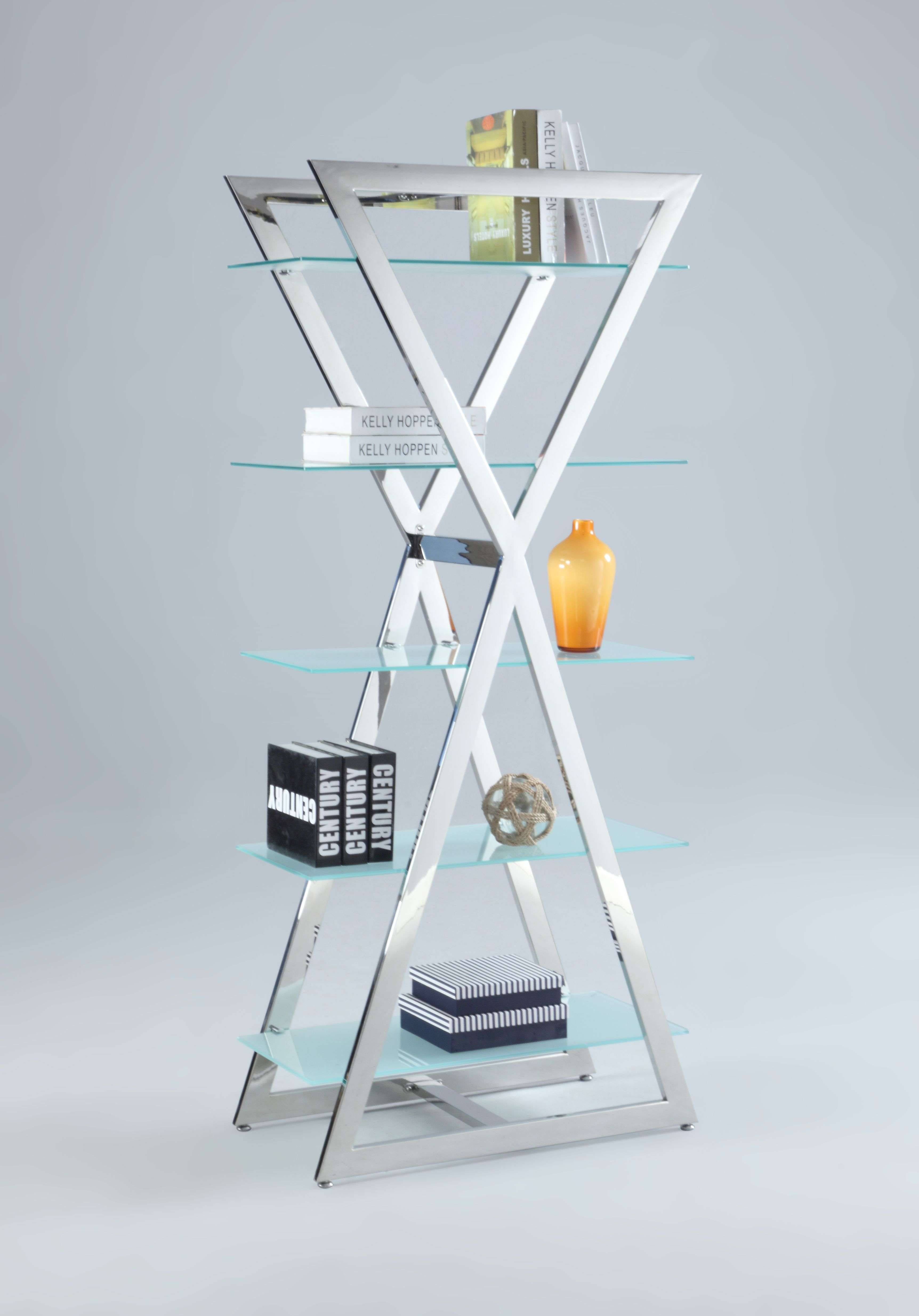 Stainless Steel 5 Shelf Bookcase with Frosted Glass Shelves ...