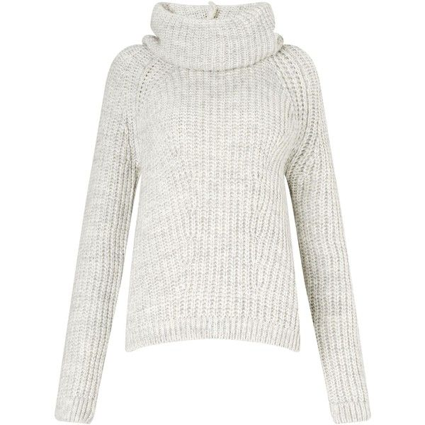 Miss Selfridge Grey Slouchy Cowl Neck Jumper ($51) ❤ liked on ...