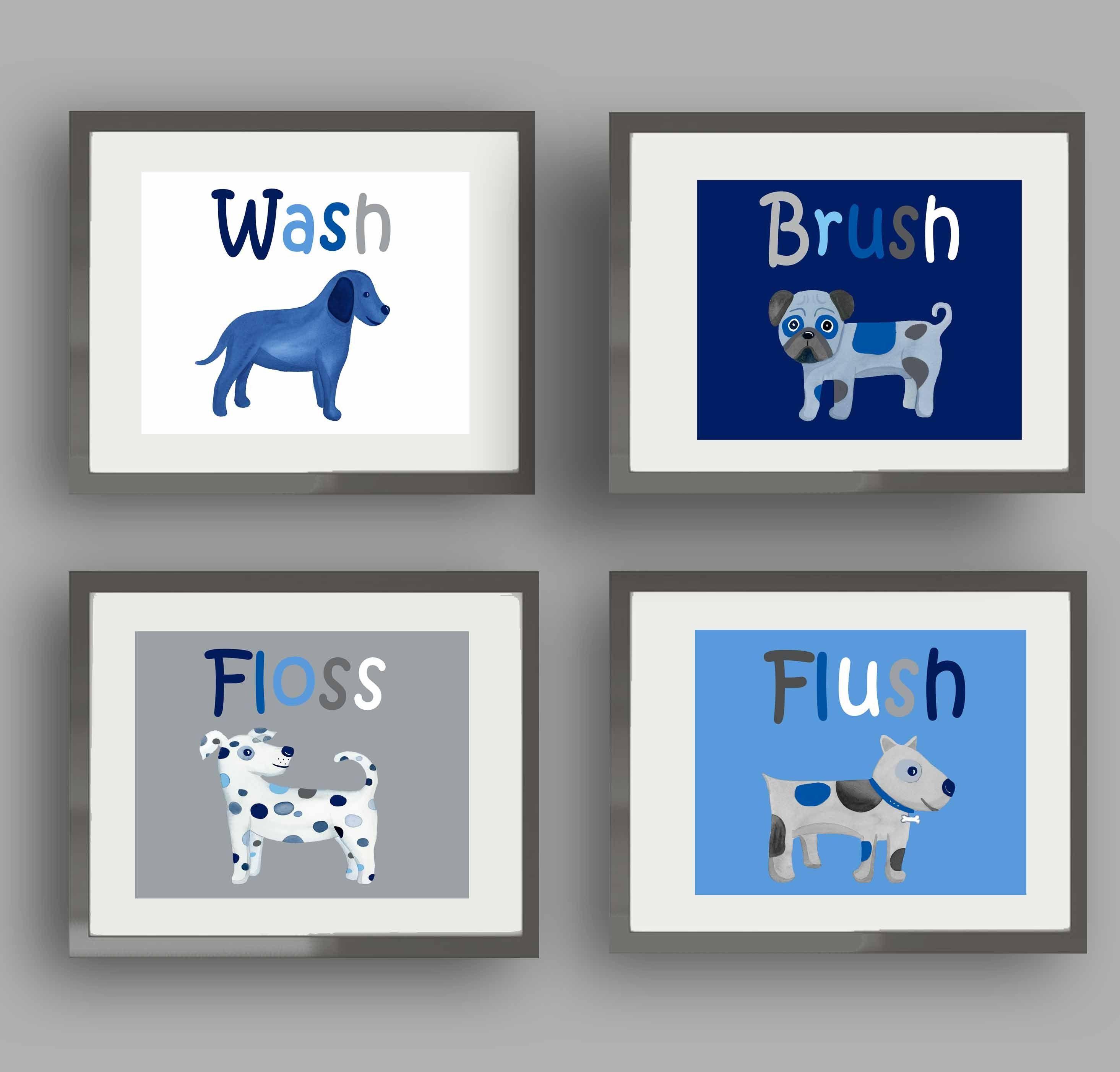 dog wall art decor for boy bathroom,dog bathroom rules, wash flush