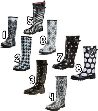 Black And White Rain Boots - Cr Boot