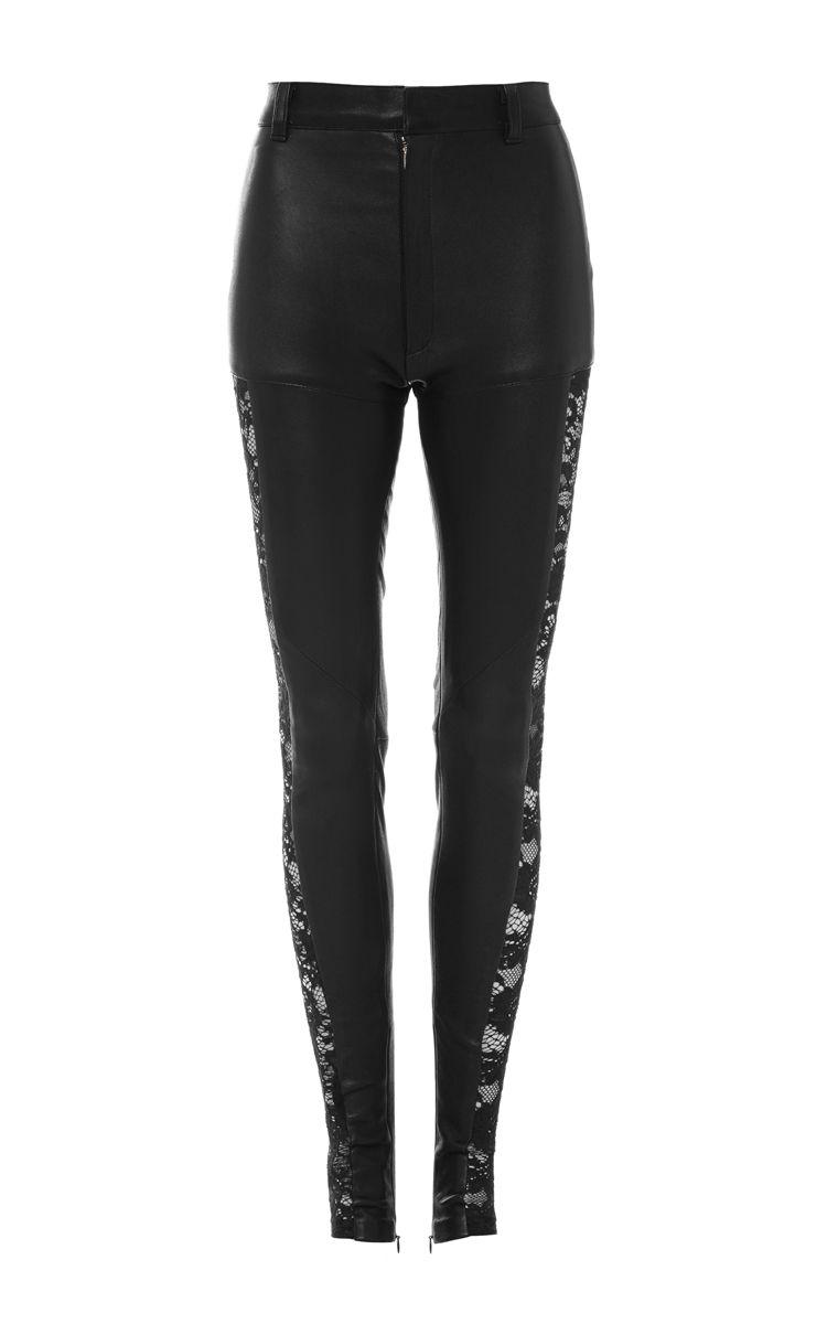 022c7661a403e Black Stretch Leather Pants With Lace Side Seams by Rodarte