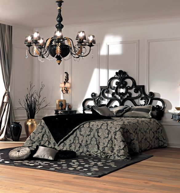 25 Stunning Transitional Bedroom Design Ideas: Paris Collection French Rococo Black Bed