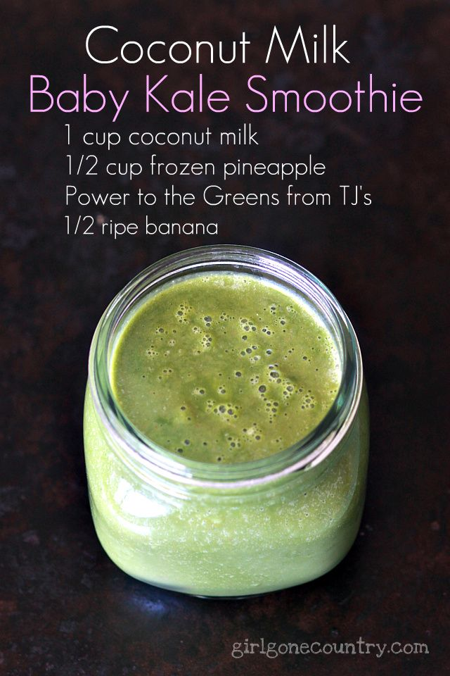 Fruit, spinach, and coconut milk smoothie. Recipe in next pin