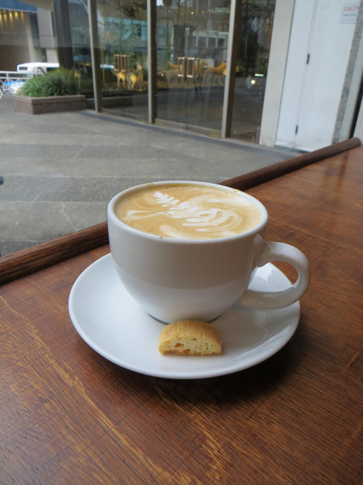Huge Cup Of Steaming Latte With Vanilla Biscotti Latte Coffee
