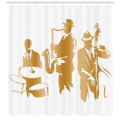 East Urban Home Ambesonne Music Shower Curtain, Vintage Style Illustration Of Jazz Band Playing The Blues Music Home Vibes Art, Cloth Fabric Bathroom