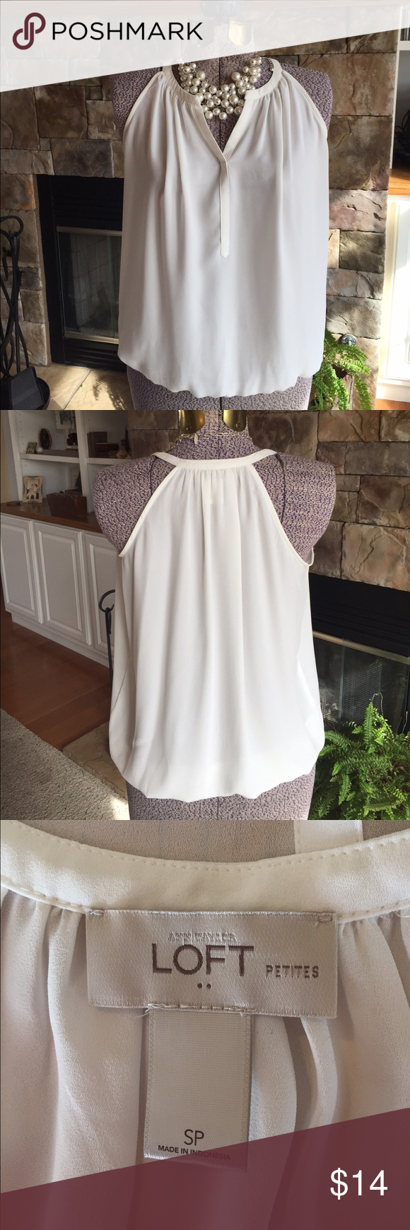 Ann Taylor Loft tank top Lovely light top by Loft. Perfect for layering or alone on those hot days. V-neck with elastic gathering at waist, so flattering. Like new. 🌷 LOFT Tops Tank Tops