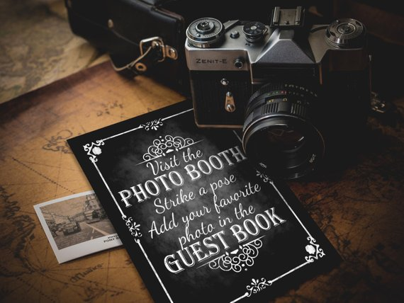 Photobooth Guestbook Strike A Pose Printable Wedding Chalkboard