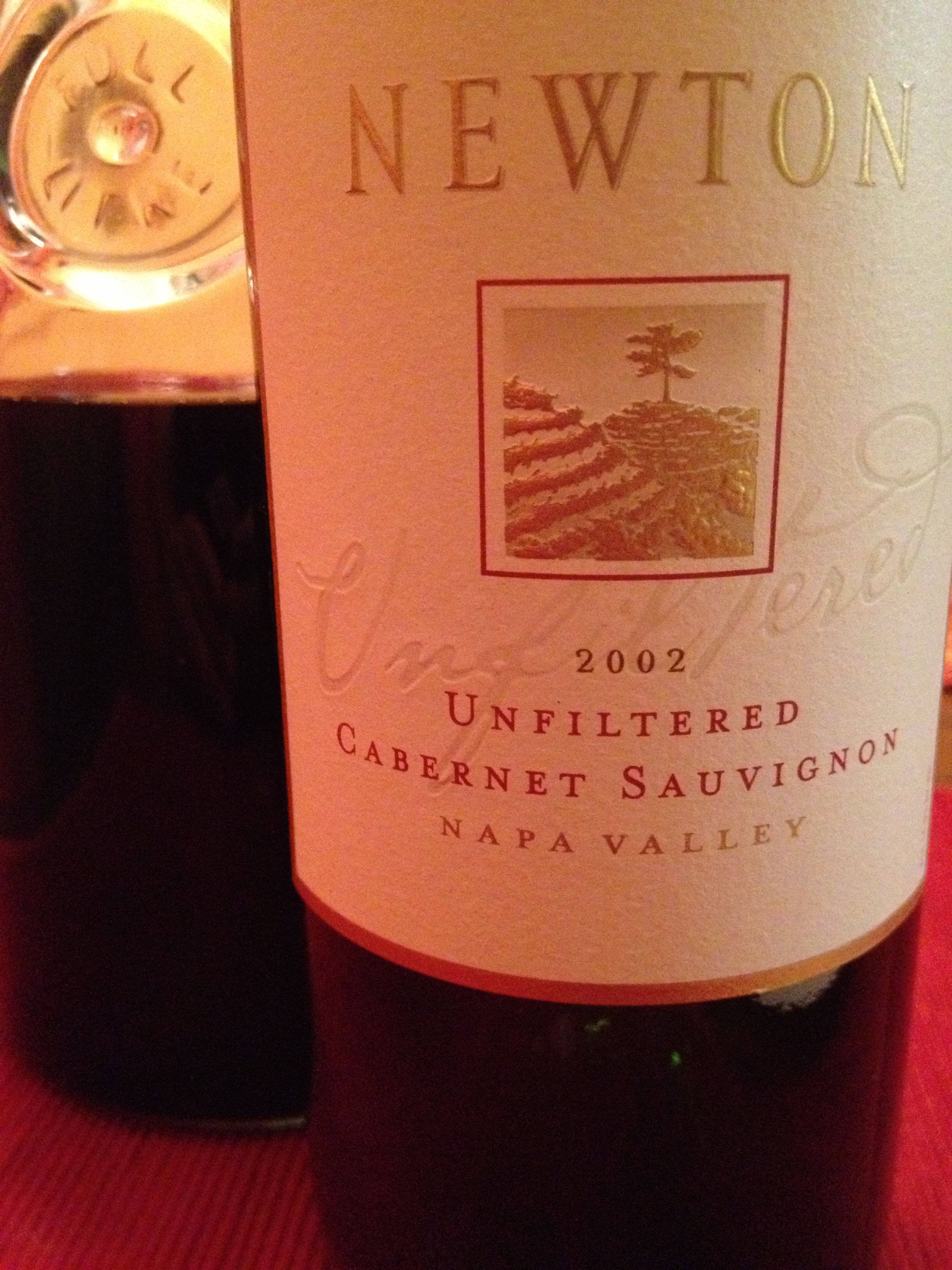 2002 Newton Unfiltered Cab Breathing Before Holiday Dinner With Friends I M Looking Forward To This One Dinner With Friends Wine Time Wine Bottle