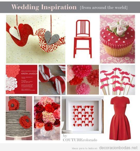 Decoracion de boda con detalles color rojo wedding for Detalles decoracion boda