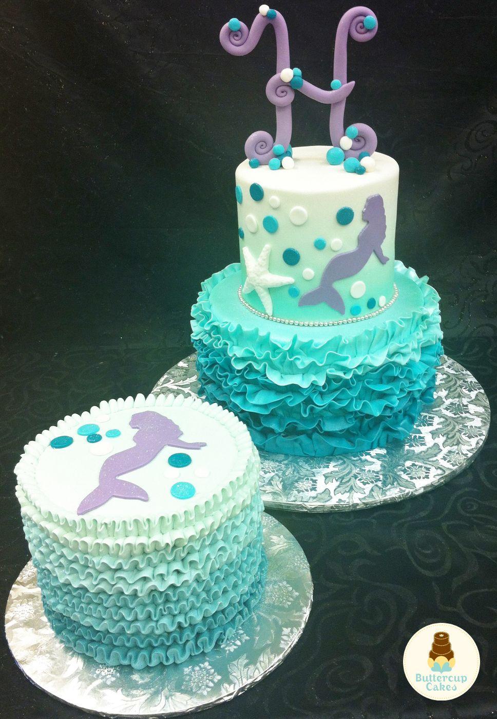 Mermaid Birthday Cake and Smash Cake Baby Cakes Pinterest