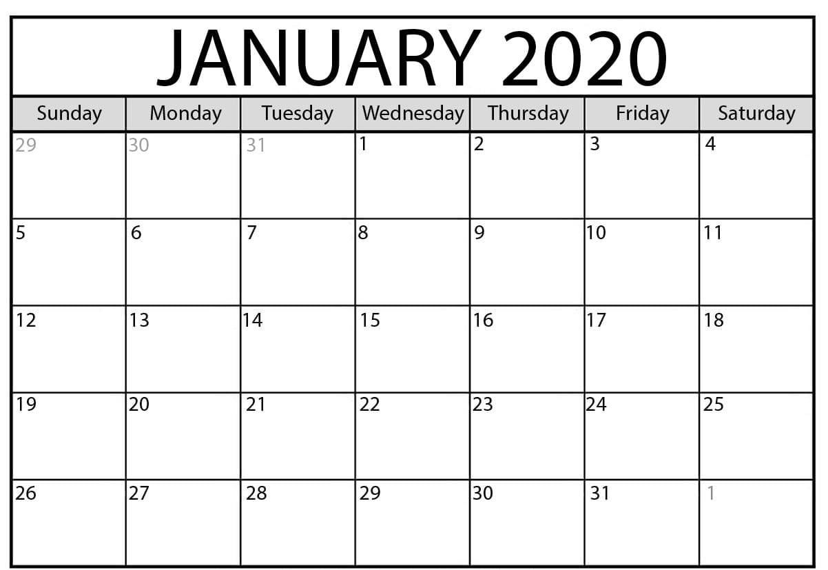January 2020 Calendar Pdf Word Excel Template With Images
