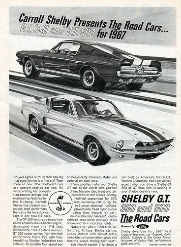 1967 Shelby Mustang GT350 and GT500 | Chromjuwelen: Vintage Ads ...