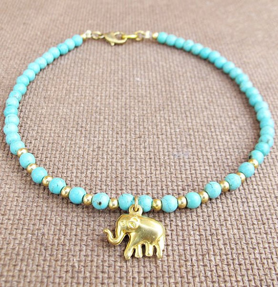 4 mm Turquoise Bead Summer Ankle Bracelet added Elephant Charm on Etsy, $10.00
