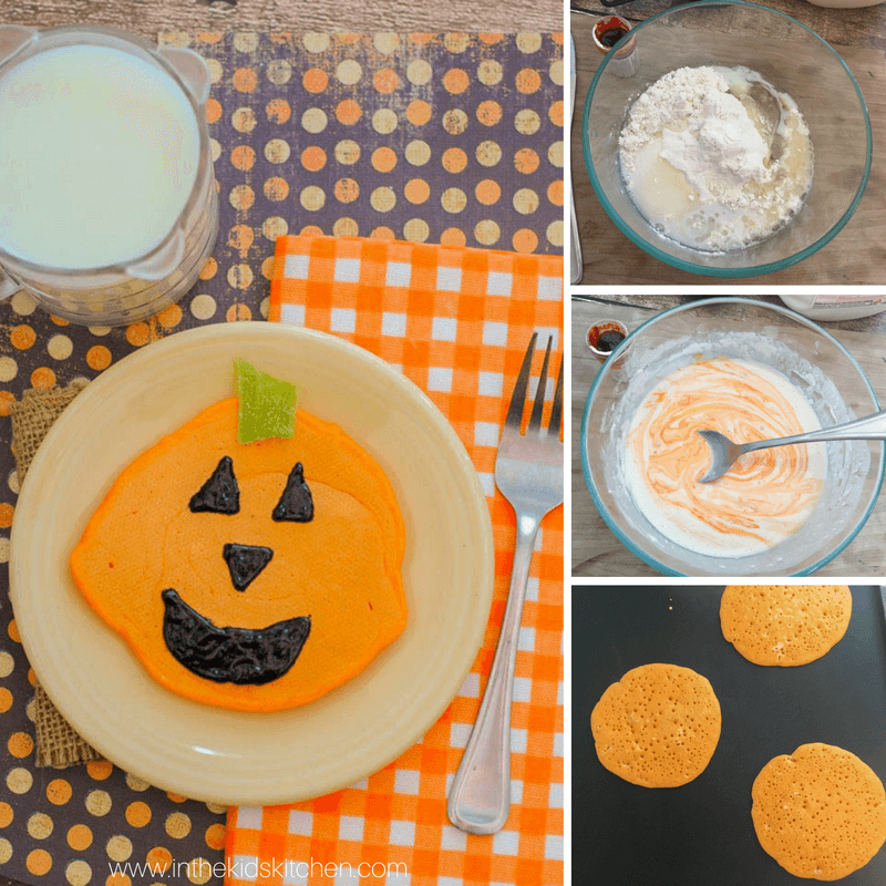 Jack O'Lantern Pancakes #halloweenbreakfastforkids How to make Jack O'Lantern Pancakes for a special Halloween breakfast #halloweenbreakfastforkids