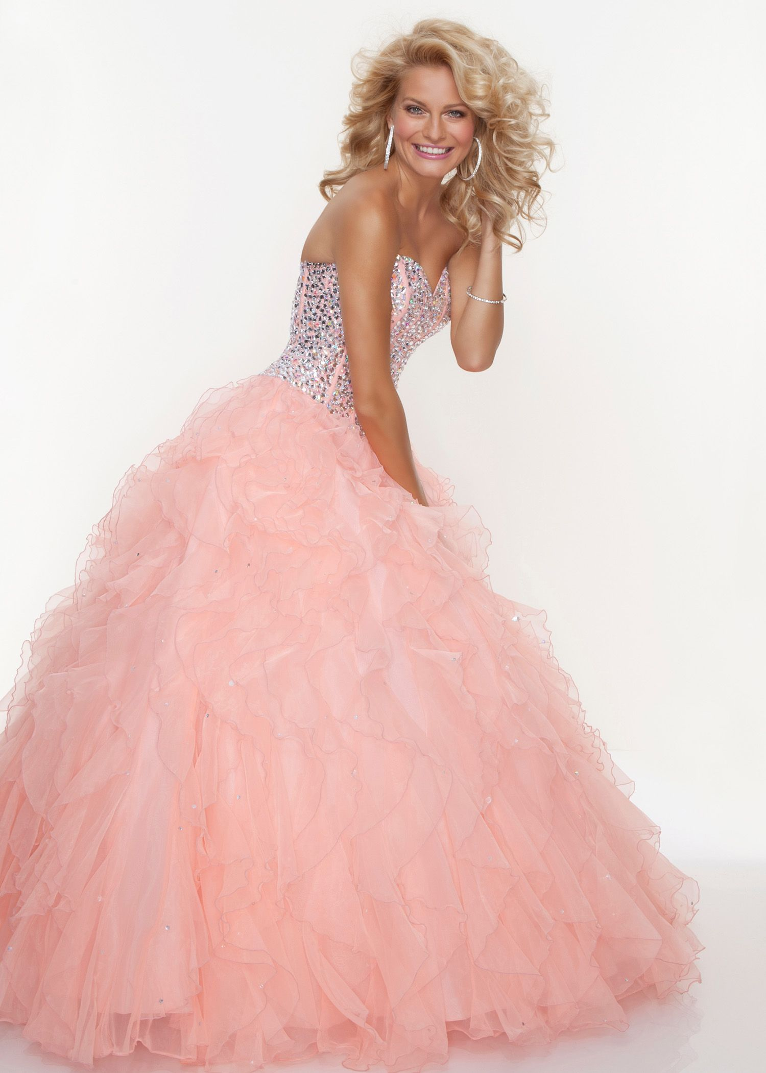 Find Paparazzi by Mori Lee 93085 strapless coral prom dresses ...