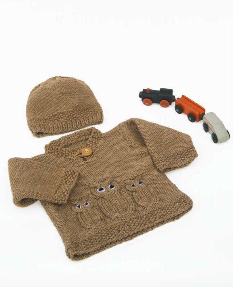 Owl Sweater & Hat in Misti Alpaca Best of Nature Organic Cotton - M006…