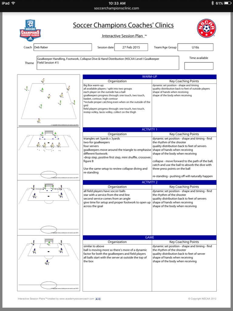 Goalkeeper Handling Footwork Collapse Dive Hand Distribution Http Soccerchampionsclinic Com Pdf 2015ses Soccer Drills Goalkeeper Drills Football Drills