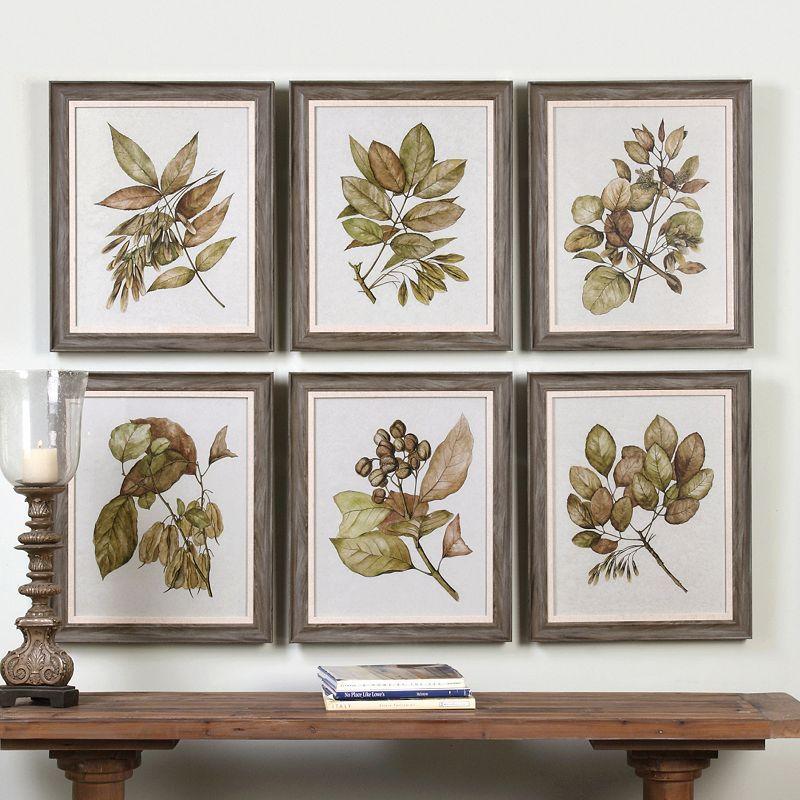 seedlings leaves framed wall art 6 piece set multicolor framed