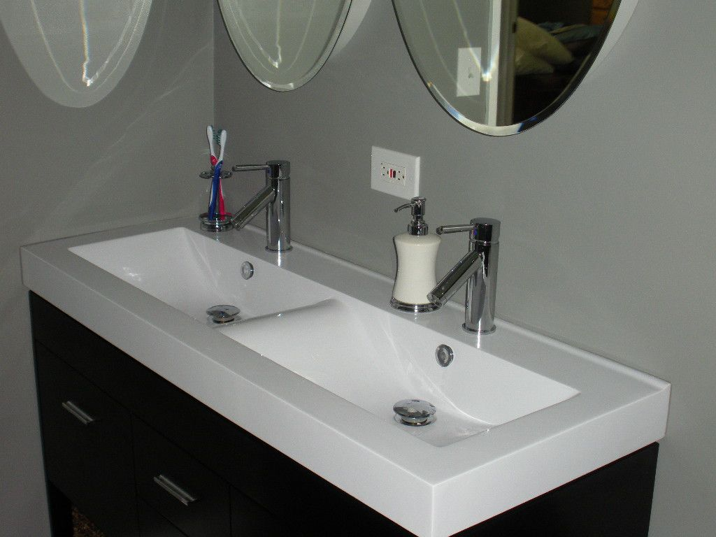 Awesome White Acrylic Double Sinks Vanity With Chromed Metal Magnificent Double Sink For Small Bathroom Design Decoration